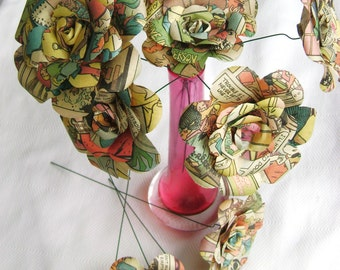 12 comic book recycled paper roses pastel shades alternative bridal bouquet