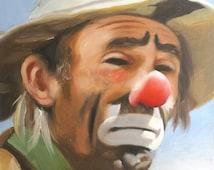 Emmett Kelly Jr circus clown oil painting 24x20 (61 x 51 cm) personally autographed by Emmett.  Artist, RUSTY RUST / 14264