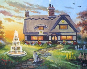 English Cottage painting by RUSTY RUST 24x36 heavy canvas / D-169