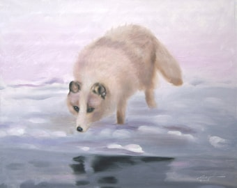 Arctic Fox 11 x 17 print (image 10.5 x 13) personally signed by artist RUSTY RUST / F-37-P