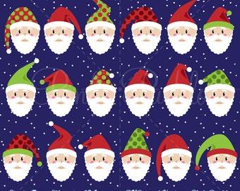 Santa Faces Clipart Clip Art, Christmas Clipart, Christmas Clip Art, Santa Claus Clipart Clip Art - Commercial Use