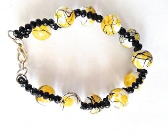Woman's Beaded Bracelet Yellow Black and White Cuff Bracelet
