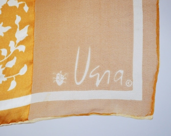 Late 60s Early 70s Vera Scarf Vera Silk Scarf Vera Neumann Gold and white Floral Sheer Border Scarf Rectangle Neck Scarf Hand Rolled Hem