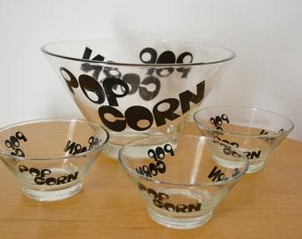 Mod Glass Pop Corn Bowl Set