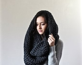 SUMMER SALE Extra Large Blanket Scarf. Huge Chunky Infinity Scarf. Oversized Shawl Hood // The Vienne - CHARCOAL