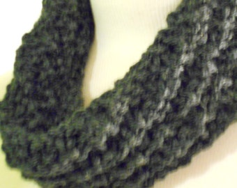 Cozy Cowl, Charcoal Circle Scarf, Mens or Womens Neckwarmer, Knit Winter Scarves