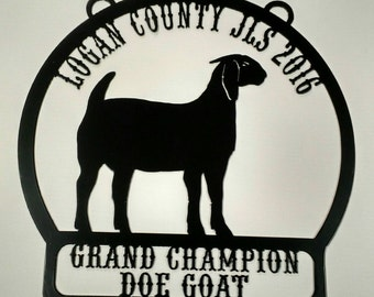Market boer goat.  Doe goat. Personalized livestock show award, trophy, plaque.  Grand, Reserve grand champion.  4h, ffa, showman.