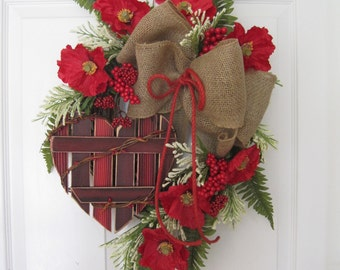 Country Valentine Wreath, Country Kitchen Wreath, Red Poppies, Red Heart, Front Door Wreath, Grapevine Wreath, Gift