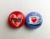 MOM COFFEE CUP and heart hand painted magnet set