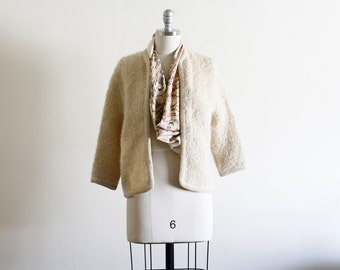 Vintage Boucle Shimmer Cardigan Sweater / Cropped Sweater / Open Front Cardigan / Mid Century Modern S