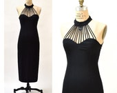 Vintage 90s Prom Dress with Cut outs size Small Medium// 90s Vintage Black 90s Vixen Evening Gown Size Small