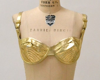 Vintage Gold Leather Bra size Medium Large// Vintage Leather Bra Crop Top Metallic Gold Size C D Cup Large