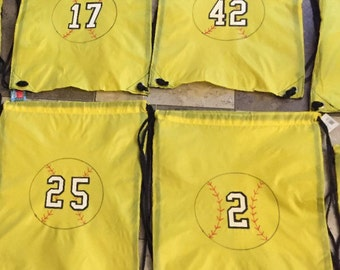 Softball Drawstring Backpack with softball an player number Personalized Custom Yellow
