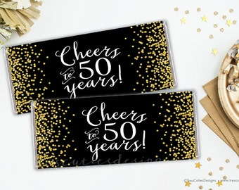 Candy Bar Wrapper - 50th birthday party - Cheers to 50 years - Black Gold Confetti - Printable
