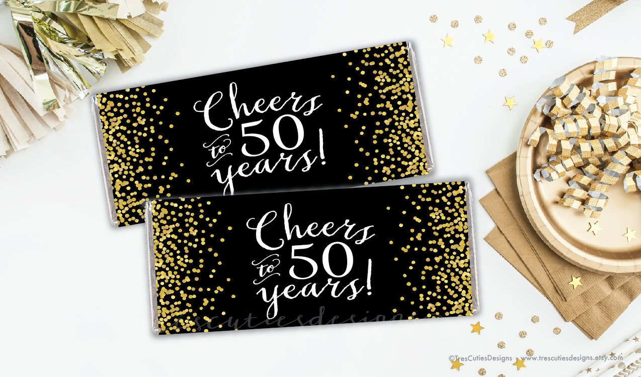 candy bar wrapper 50th birthday party cheers to 50 years