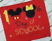 100 Day of School Mickey and Minnie Disney Shirt 100 days Teacher Shirt School Shirt One Hundred Days School Shirt Mickey Mouse Minnie Mouse