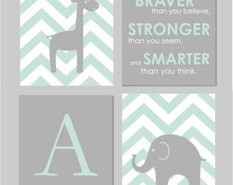 "Mint and Grey Nursery, Elephant Nursery Wall Art, Giraffe Nursery, Mint Nursery Decor, Always Remember You are Braver Set of four 8""x10""s"