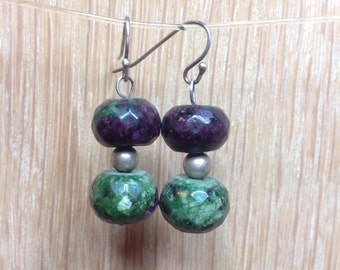Ruby Zoisite Gemstone Earrings on 925 Sterling Silver Ear Wires