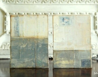 """Abstract Diptych, 10x7"""" Original Art Panels, Mixed Media Art, Contemporary Art, Industrial Art, Gray painting, Neutral painting, (2) 5x7s"""