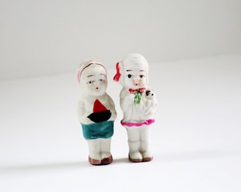 Vintage Japan Bisque Porcelain Dolls, Pair of Frozen Charlotte Dolls, Mini Cutie Matchbox Dolls, Kitsch Mini Japan Dolls SwirlingOrange11