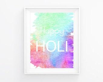 Happy Holi Watercolor Digital Print 8.5 x 11 PLUS Bonus Tamil English Crossword Puzzle for Kids DIGITAL DOWNLOAD