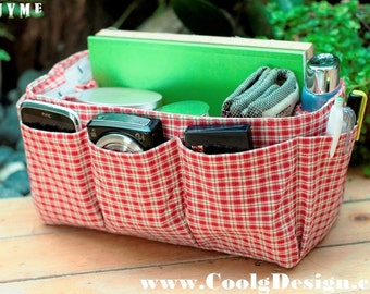 Purse organizer insert multi-pocket for handbag red black plaid Large 25x10 cm