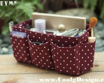 Summer SALE 20% OFF - Purse ORGANIZER insert, Bag Organizer, Extra Sturdy, Burgundy Polka Dots / Large 25x10cm