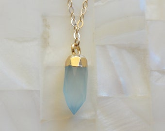 Step-Cut Faceted Petite Gold Capped Blue Chalcedony Spike Pendant on Gold Chain Necklace (N1677)