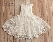 Flower Girl dress, lace flower girl dress, girls lace dress, off white lace dress, rustic flower girl dress,  birthday dress,Easter dress.