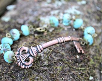 Antique Copper Victorian Skelton Key Bracelet