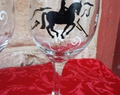Dressage horse and rider  hand painted wine glasses.