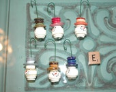 WHOLESALE LOT E 6 Snowman Head Button Christmas Tree Ornament with Red Top Hat - Proceeds Benefit Cancer Research