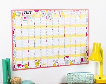 HALF PRICE - Large 2017 Wall Calendar And Year Planner - Kitchen wall planner 2017 - Woodland year wall planner - hedgehogs and owls