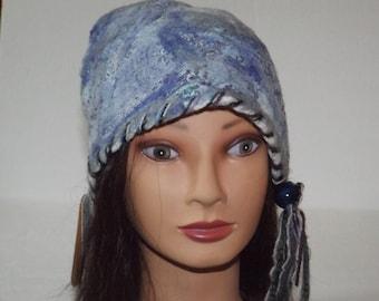 Nuno felted hat. Wearable art. Designer hat nuno felt. Slouchy hat, beanie hat, winter hat.