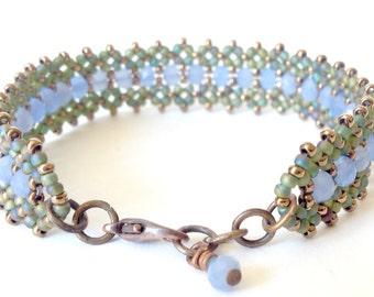 rainbow green emerald and milky light blue bracelet