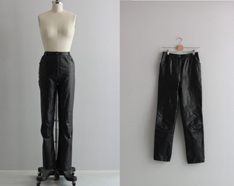 Black Leather Pants . 70s Womens Pants . Vintage Leather Pants