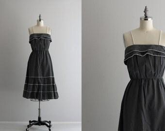 Polka Dot Day Dress . Spaghetti Strap Sundress . Cotton 70s Dress