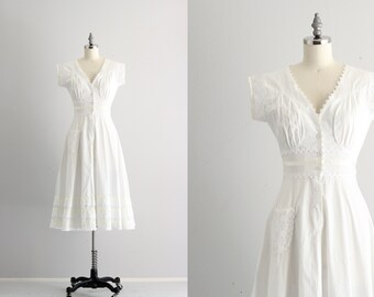 50s Cotton Dress . 1950s Vintage Dress with Pockets . Fifties White Cotton Dress