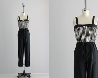 Black and White Jumpsuit . Black Striped Jumpsuit . Vintage Jumpsuit