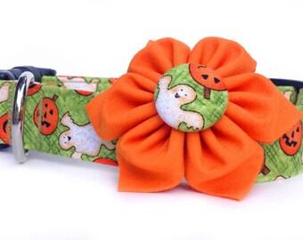 Halloween Dog Collar,  Dog Collar Flower, Pumpkin Dog Collar, Ghost dog collar,  Orange Flower Dog Collar, Girl Dog Collar, Fall Dog Collar