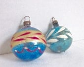 Vintage Christmas Glass Ornament Feather Tree Decoration Blue Mercury Glass Ornaments Hand Painted set of 2