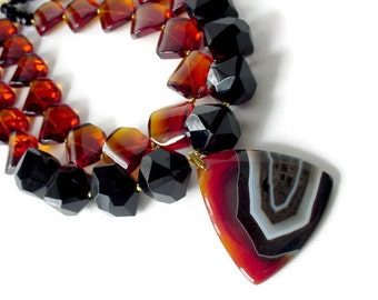 Big Bold Statement Necklace, Double Strand Chunky Necklace, Large Bead Necklace, Bold Color Block Necklace, Large Agate Pendant Rust & Black