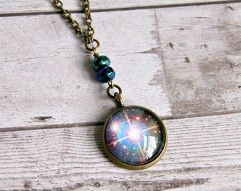 starlight cabochon pendant, antique brass, photo pendant, upcycled, celestial, stars
