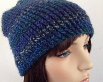 Women's Beanie Slouchy Hat, crocheted, blue, winter hat, gifts for her