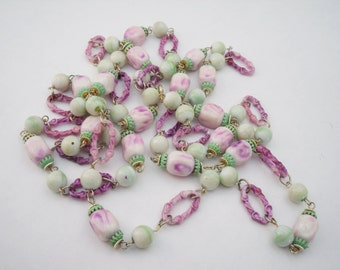 Early plastic purple green bead necklace