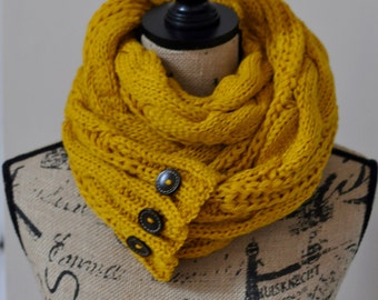 Infinity Scarf with buttons Women Scarf Mustard Lightweight Loop Scarf Mustard Knitted Scarf Women Scarf Christmas Gift under 50