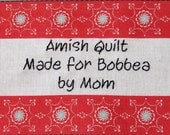 Quilt Label - Red Stripes With Turquoise Peonies, Hand Embroidered & Custom Made
