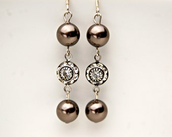 Pearl Drop Earrings/ Wedding Earrings/ Bridesmaid Earrings/ Drop Pearl Earrings/ Pearl Earrings/ Double Pearl Earrings/ Brown Earrings