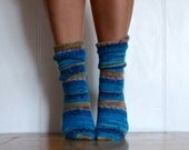 Blue Sea Hand Knit Women's Socks, size 5-7