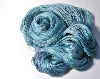 Pure Silk  MERIDIAN  in Aqua and Purple - One of a Kind
